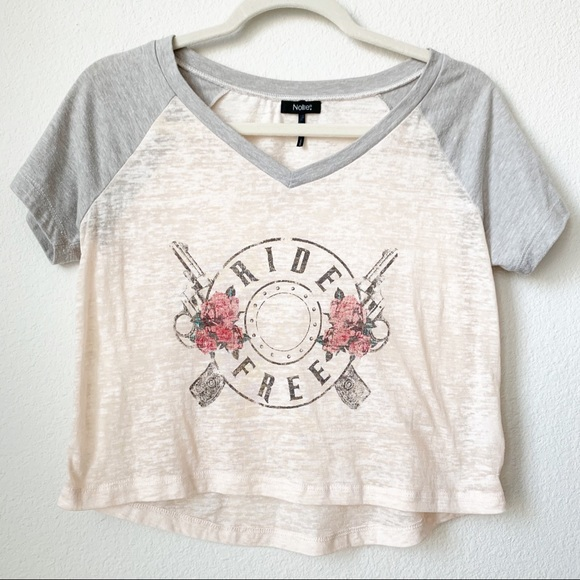 Nollie Tops - Nollie Ride Free Burn Out Graphic Crop Top Small